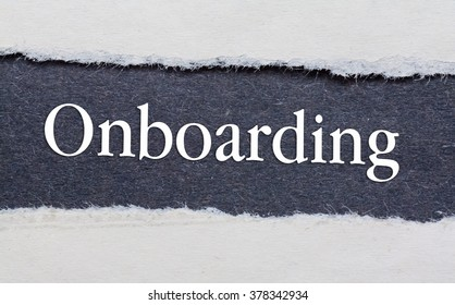 Onboarding words under torn black paper.