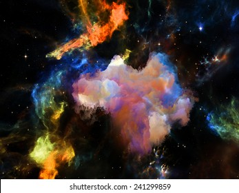 Once Upon a Space series. Composition of fractal clouds suitable as a backdrop for the projects on Universe, cosmos, astronomy, science and education