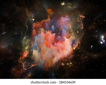 Once Upon a Space series. Composition of fractal clouds on the subject of Universe, cosmos, astronomy, science and education
