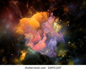 Once Upon a Space series. Interplay of fractal clouds on the subject of Universe, cosmos, astronomy, science and education