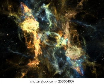 Once Upon a Space series. Visually attractive backdrop made of fractal clouds suitable as element for layouts on Universe, cosmos, astronomy, science and education
