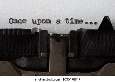 Once upon a time - text message on the typewriter close-up