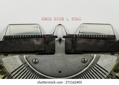 Once upon a time word printed on an old typewriter