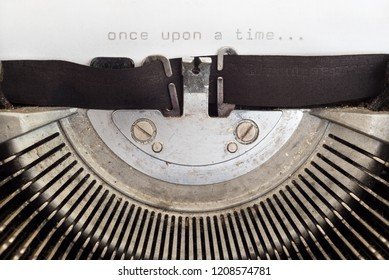 Once upon a time word typed on a vintage typewriter
