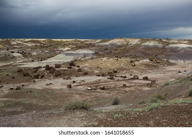 An oncoming storm near the Painted Desert and Petrified Forest in Arizona