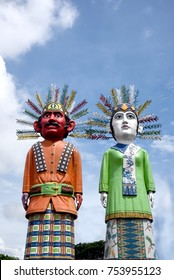 Ondel-ondel is a form of folk performance using large puppets. It originated from Betawi, Indonesia. The word ondel-ondel refers to both the performance and the puppet. It made of woven bamboo.