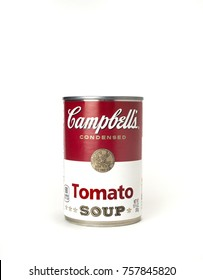 one 10 once Campbell's tomato soup can isolated on plain white background