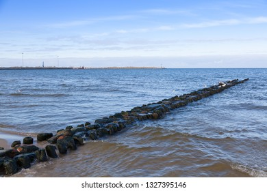 One of 15 breakwaters in the town of Pionersky, Kaliningrad region, Baltic Sea coas