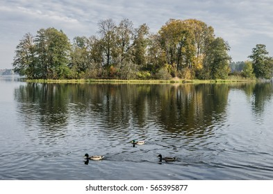 One of the 21 pastoral islands in Galve lake, Trakai, Lithuania