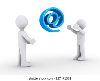 One 3d person is sending e-mail to another by throwing an e-mail symbol