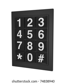 one 3d render of a keypad as that used on doors, phones and safes