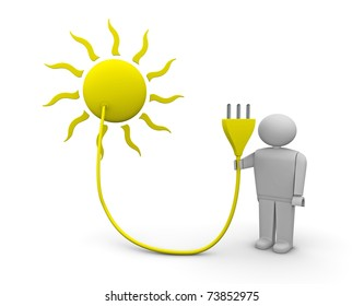 one 3d render of the sun with an electrical plug carried by a man