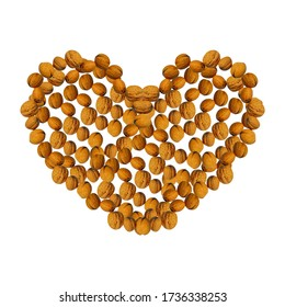 One abstract heart made of walnuts, on a white background. Useful for food blog posts, banner, labels.