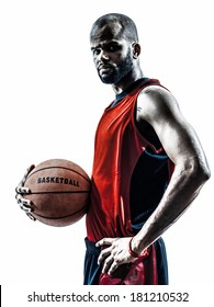 one african man basketball player holding ball in silhouette isolated white background