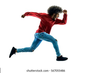 one african man  running runner  in silhouette isolated on white background