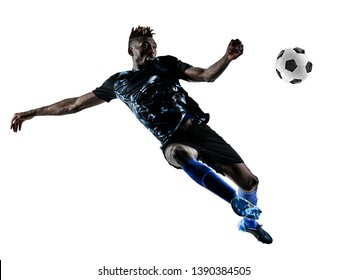 one african soccer player man playing in studio isolated on white background