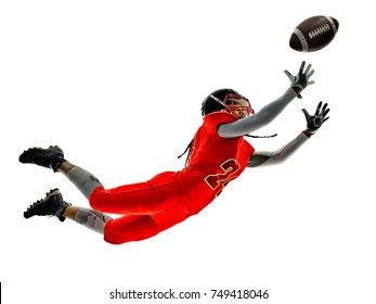 one african woman teenager girl american football players  isolated on white background silhouette with shadows