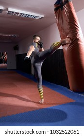 one agressive boxer exercising,high leg kick, boxing bag, rear view. full lenght shot.
