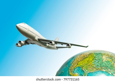 One airplane fly over the earth isolated on blue background