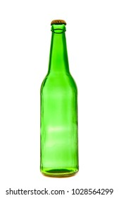 one, alone green beer bottle with metal cork, cover isolated on white background