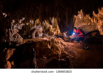 One of the amazing limestone caves in Perlis, Malaysia. Wang Burma Cave has some of the world's rarest and most beautiful limestone hills. Photo contains noise due to high ISO and its selective focus