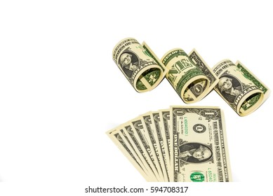 One American dollar banknotes on isolated white background
