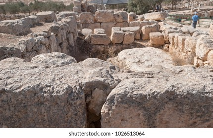 one of the ancient mikves (jewish ritual baths) at the ancient Talmudic era city of Susya in Israel
