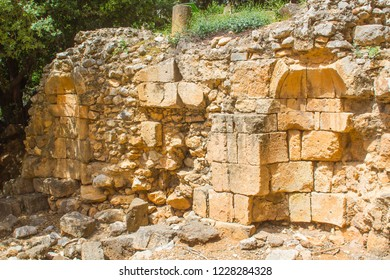 One of the ancient shrines to Pan at the Banias water gardens in Israel at the bottom of Mount Hermon in the North Golan Heights Israel