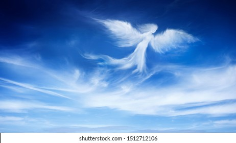 one angel is flying on the blue sky