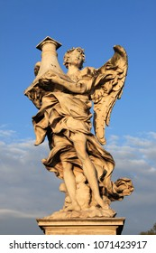 One of the angel statues carved by Gian Lorenzo Bernini on the Saint Angel bridge of Rome, Italy
