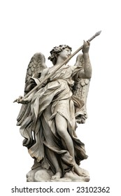 """One of the angels on the bridge """"Ponte Sant Angelo"""" in Rome, Italy"""