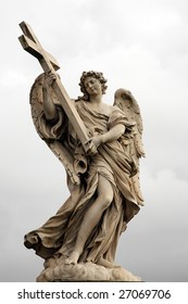 "One of the angels on the bridge ""Ponte Sant Angelo"" in Rome, Italy"