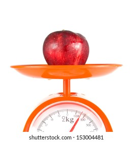 one apple lying on weight scale