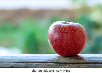 one apple on wood with nature background