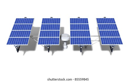 One articulated solar panel module with midday light on a white background