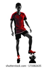 one asian soccer player young man standing  in silhouette isolated white background