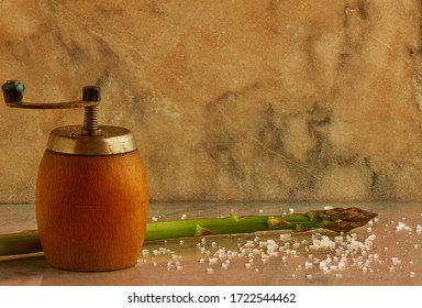 One asparagus sprout, salt and a pepper mill on a marble background, copy space, healthy food