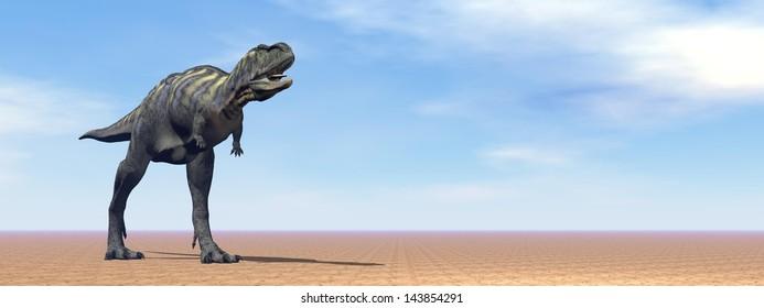 One aucasaurus dinosaur standing in the desert by daylight