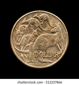 One Australian dollar on the black background