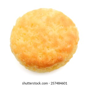one baked biscuit on white background
