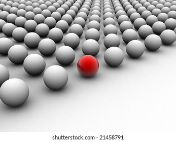 one ball different, red