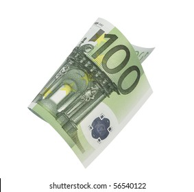 one banknote 100 euro, isolated on white with clipping path