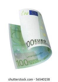 one banknote 100 euro, isolated on white with clipping path.