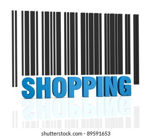 one bar code with the word: shopping, instead of numbers (3d render)