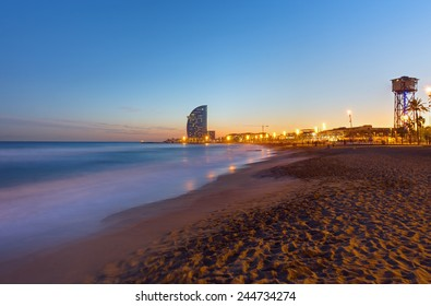One of Barcelonas beautiful beaches after sunset