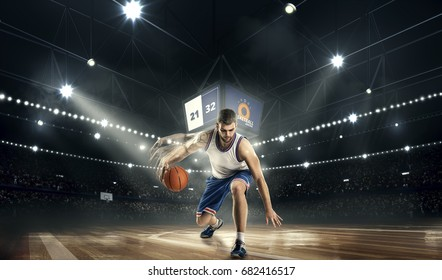 one basketball player with ball on stadium. basketboll freestyle effect.