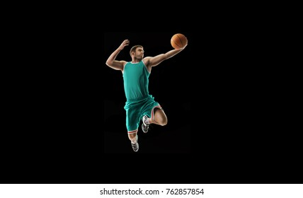 one basketball player jump isolation