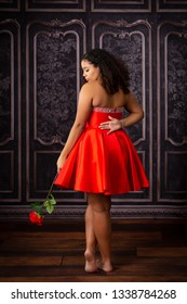 One beautiful,  biracial high school senior girl wearing red party dress holding one red rose