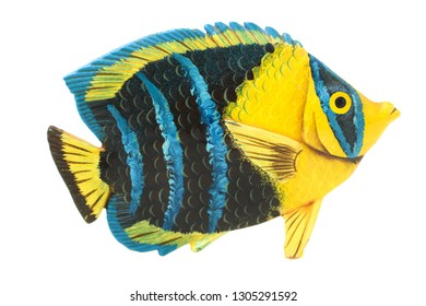 One beautiful exotic tropical fish isolated on white. Concept ecology. Top view.