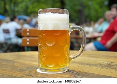 One beer in a beer garden